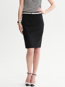 Black Lightweight Wool Pencil Skirt 1